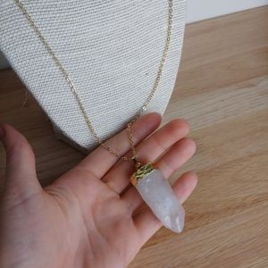 Raw Quartz Crystal Pendant Necklace